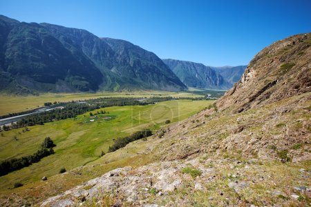 View of the valley of Altai river Chulyshman from the slope of m