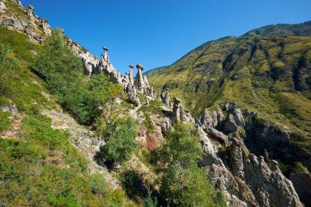 Nature phenomenon Stone Mushrooms in Altai mountains near river