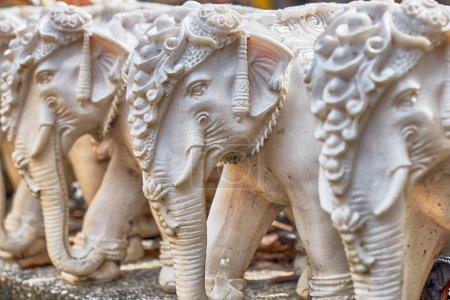 Stone elephants Promthep Cape on Phuket island