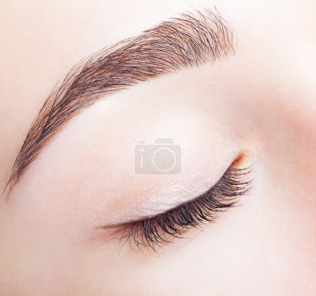Female closed eye and brows with day makeup