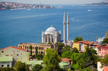 The view of Ortakoy Mosque against the Bosphorus background.  Is