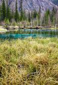 Takzvaná modrá gejzír jezero v pohoří Altaj