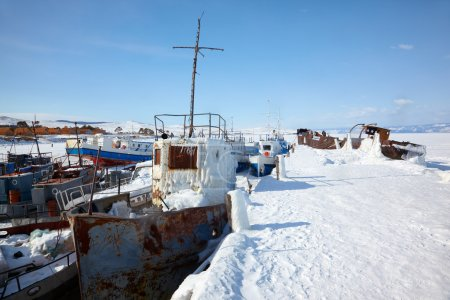 Old frozen ships in the