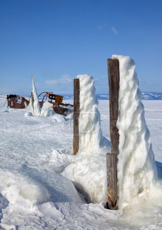 Old frozen ship on the