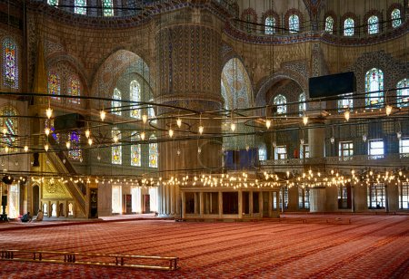 The prayer area in Sultan Ahmed Mosque  (Blue Mosque), Istanbul.
