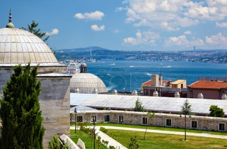 The view of the Bosphorus from the courtyard of Suleymaniye Mosq