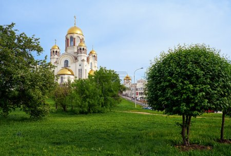 Photo for View of the Church on Blood in Honour of All Saints Resplendent in the Russian Land on the hill of Ascension, Yekaterinburg, Russia - Royalty Free Image