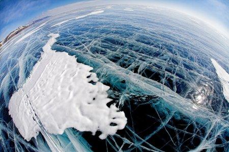 Fisheye surface on winter baikal
