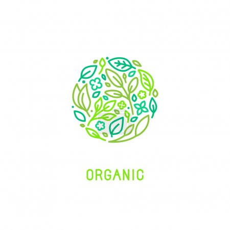 Illustration for Vector logo design template in trendy linear style with icons - organic concept and badge - green leaves in circle shape - for cosmetics packaging and vegan food - Royalty Free Image