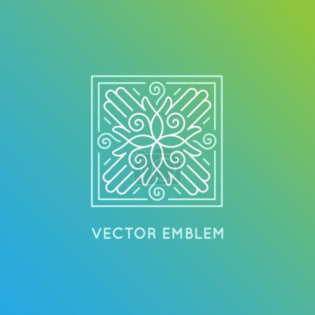 Illustration for Vector logo design template in trendy linear style - concept and emblem for spa and holistic centers, massage therapy, yoga studios - Royalty Free Image