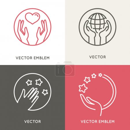 Vector charity and volunteer concepts and logo des...