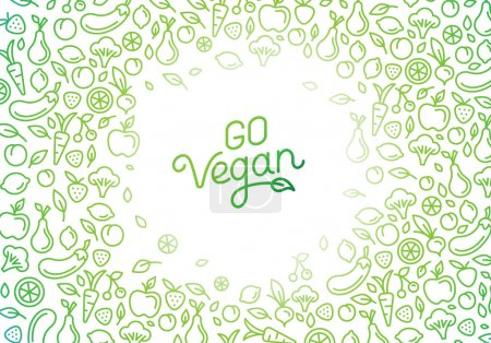 Illustration for Go vegan - motivational poster or banner with hand-lettering phrase on green background with trendy linear icons and signs of fruits and vegetables - vector illustration - Royalty Free Image