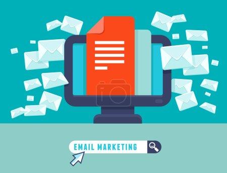 Illustration pour Concept d'email marketing vectoriel - icône plate tendance - newsletter et abonnement - image libre de droit