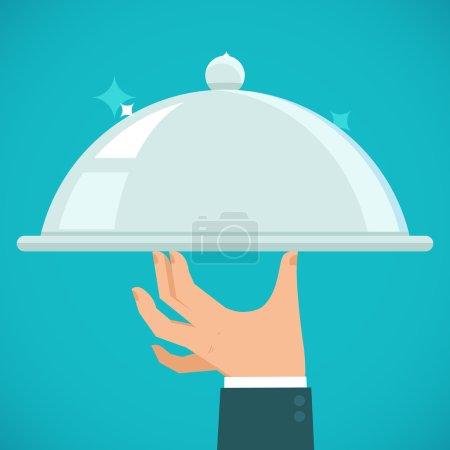 Illustration pour Serveur vectoriel main tenant plaque d'argent - concept dans le style plat - image libre de droit