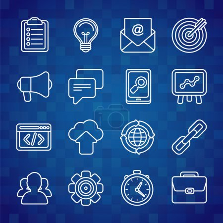 Photo for Flat vector icon set of SEO symbols, internet marketing design elements and online business signsls in outline style - Royalty Free Image