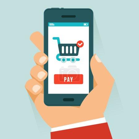 Illustration pour Concept de paiement mobile vectoriel en style plat - téléphone portable à main humaine avec panier et bouton de paiement à l'écran - image libre de droit