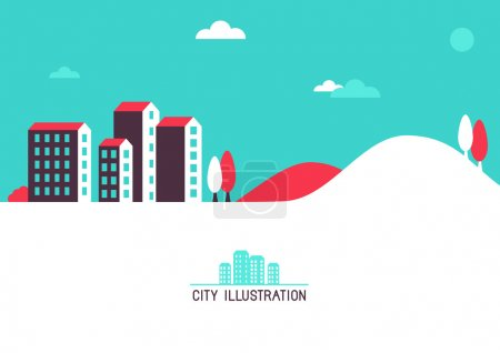 Photo for Vector flat illustration with bright houses - city background for website header - Royalty Free Image