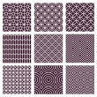 Vector seamless patterns set in trendy mono line s...