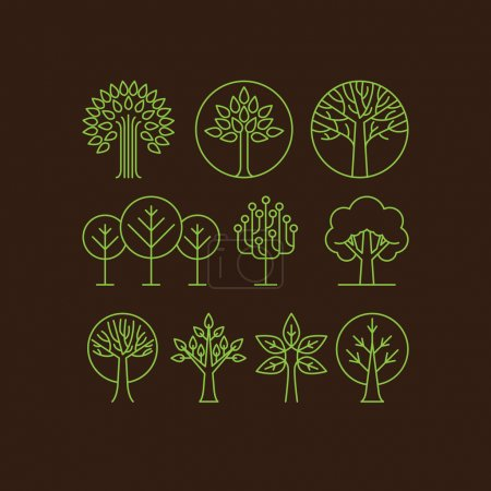 Illustration for Vector organic tree icons - outline  monograms and logos -ecology and bio design elements - Royalty Free Image