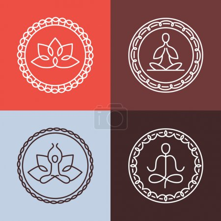 Vector yoga icons and round line badges
