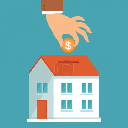 Illustration for Vector investment concept in flat style - businessman's hand putting coin inside the house - real estate investment - Royalty Free Image