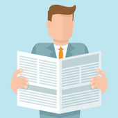Vector concept in flat style - man reading a newspaper with business articles