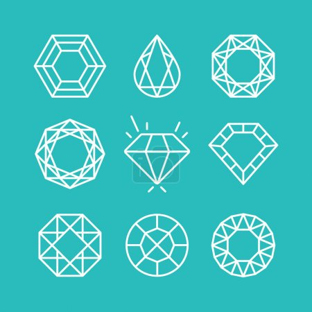 Vector set of line diamond icons and signs