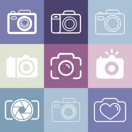 Illustration for Vector set of photography and camera logos and signs - line icons set - Royalty Free Image