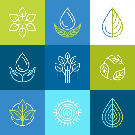 Illustration for Vector set of line logos and signs - organic emblems and ecology badges - Royalty Free Image