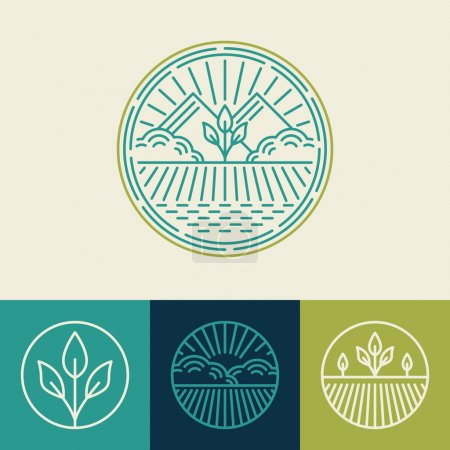 Illustration for Vector agriculture and organic farm line logos - set of design elements and badges for food industry - Royalty Free Image
