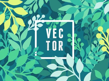 Illustration for Vector abstract background with leaves - banner template with copy space for text - Royalty Free Image