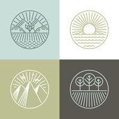 Vector line badges with landscapes