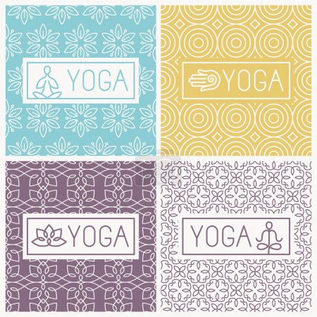 Illustration for Vector yoga icons and line badges - graphic design elements in outline style or logo templates for spa center or yoga studios - Royalty Free Image