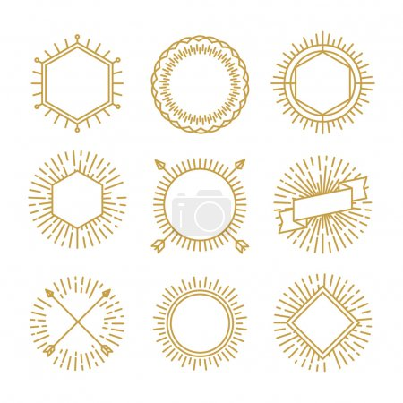 Illustration for Vector set of outline emblems and badges - abstract linear hipster logo templates - Royalty Free Image
