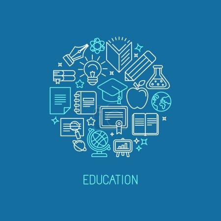 Photo pour Modèle de conception de logo linéaire vectoriel - éducation en ligne et concept universitaire dans un style de contour tendance - image libre de droit