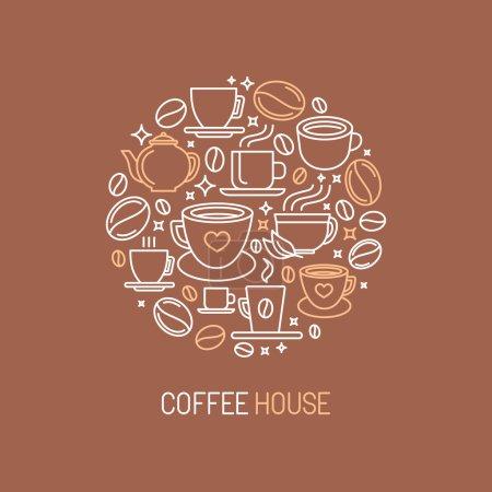 Illustration pour Concept de logo de café vectoriel en style mono-ligne - ions café et thé et signes - image libre de droit