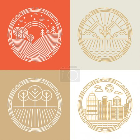 Illustration for Vector linear icons and logo design elements with landscapes - travel concepts - Royalty Free Image