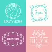 Vector spa and cosmetics logo design templates in trendy linear style