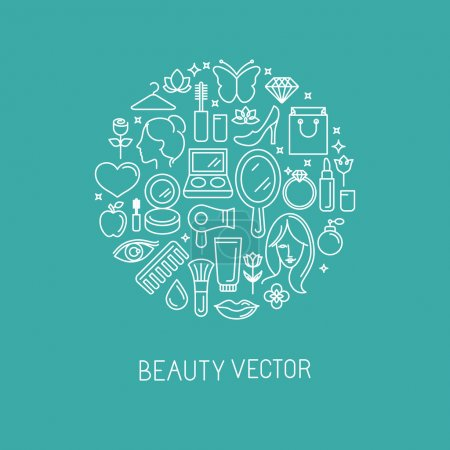 Illustration for Vector linear logo with icons - beauty and cosmetics signs and symbols - design concepts for hairdressers and wellness centers - Royalty Free Image
