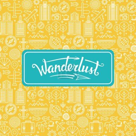 Vector wanderlust logo - travel concept - hand-let...