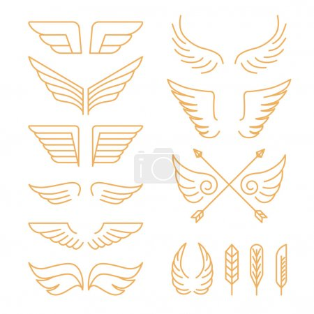 Vector set of linear icons - wings