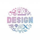 Vector linear logo design concept - illustration with icons and signs related to graphic design and creative process