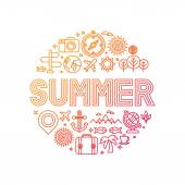 Vector summer lettering with linear icons and signs