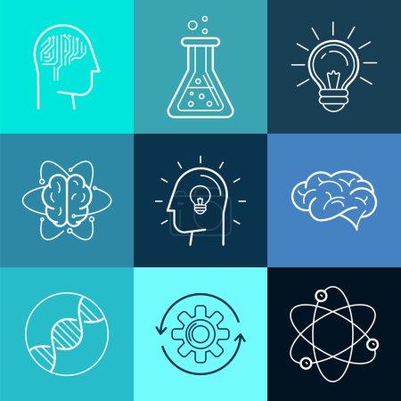 Illustration pour Icônes vectorielles et enseignes dans un style linéaire tendance - nouvelles technologies, concepts de recherche analytique et d'innovation - éléments abstraits de conception de logo - image libre de droit