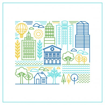 Vector linear city illustration in trendy style