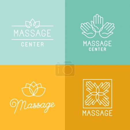 Illustration for Vector set of trendy linear icons and logo design elements related to massage centers and relax - mono line signs and concepts - Royalty Free Image