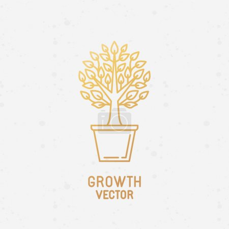 Illustration for Vector abstract growth logo design element in trendy linear style made with golden foil on white background - growing and prospering plant in the pot - process and development concept - Royalty Free Image