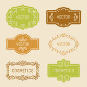 Vector set of linear design elements packaging labels and frames in trendy style for cosmetics and beauty products - abstract templates in mono line style