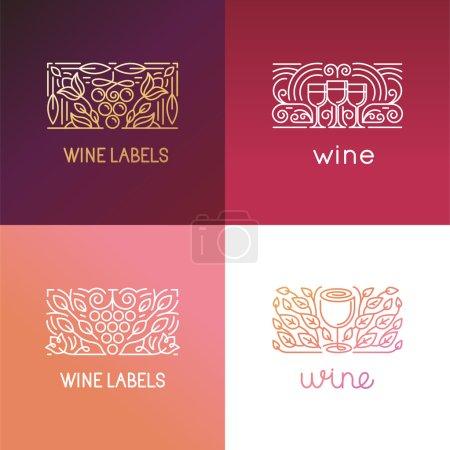 """Illustration pour Ensemble vectoriel d """"éléments de conception de logo et de signes pour le vin - design packagin et icônes - badges pour l"""" étiquette dans un style linéaire à la mode - image libre de droit"""