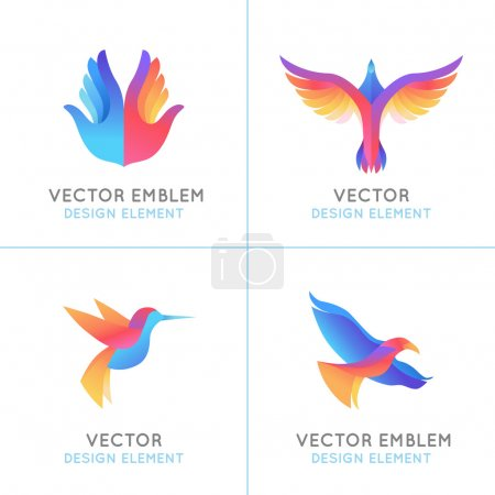 Illustration for Vector set of abstract gradient emblems and logo design templates - birds and wings - freedom concepts and signs - Royalty Free Image